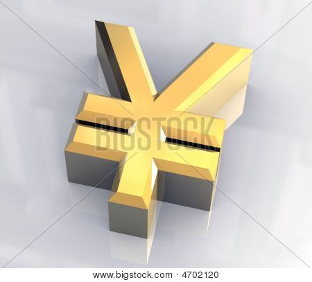 Isolated Yen Symbol In Gold