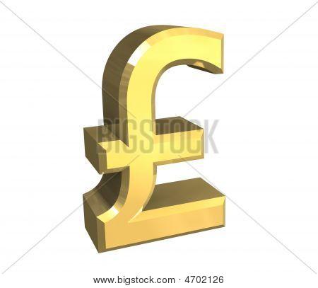 Símbolo isolado de libra em ouro