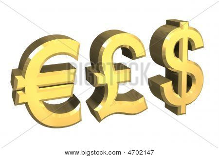 Euro, Pound, Dollar Symbol In Gold
