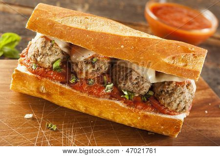 Hot And Homemade Spicy Meatball Sub Sandwich