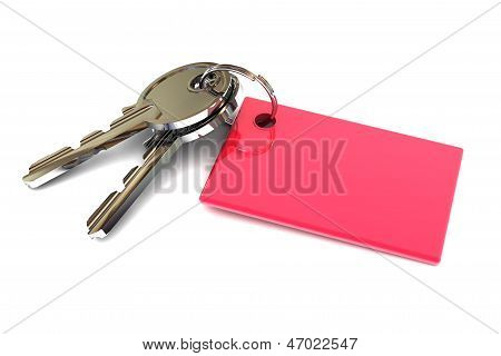 Keys With A Blank Red Keyring