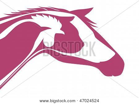 Pink veterinary emblem