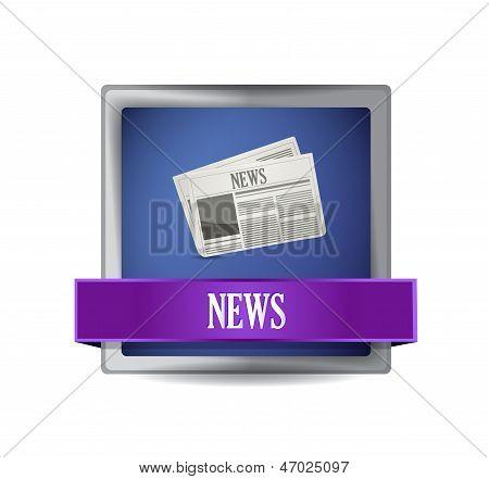 News Paper Icon Button Illustration Design