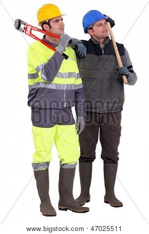 Two pensive builders