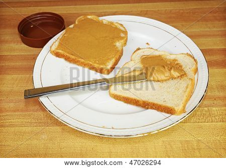 Peanut Butter And Jelly Sandwich On Plate