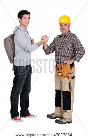 Carpenter welcoming his trainee