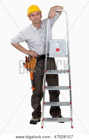 A handyman with a ladder.