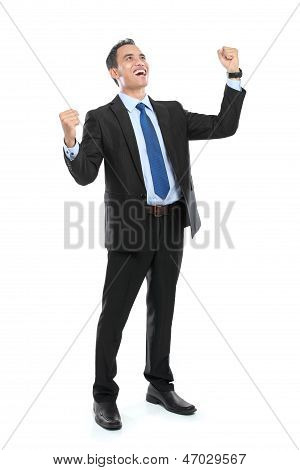 Full Body Of Very Happy Successful Gesturing Businessman