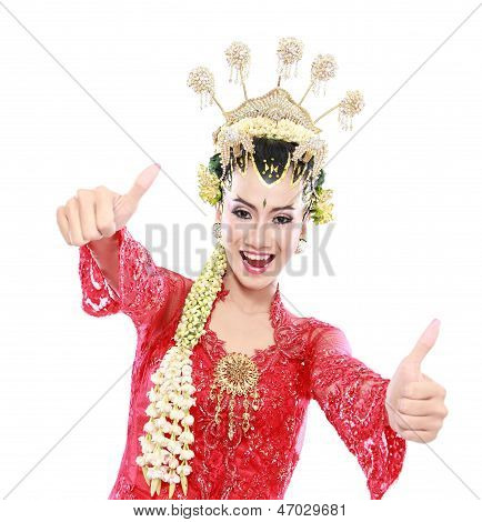 Happy Of Woman Traditional Java Showing Thumbs Up