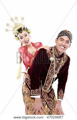 Happy Traditional Java Wedding Couple Husband And Wife