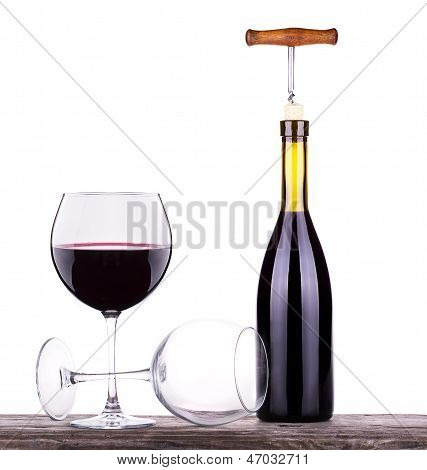 Wine Glass And Bottle Of Wine