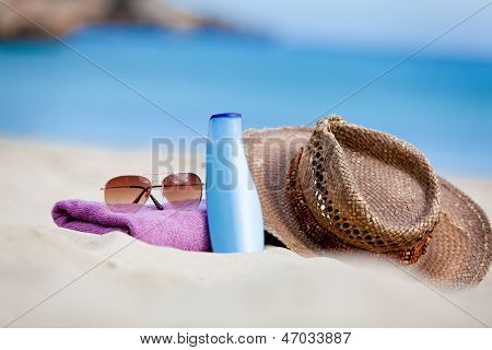 Sunprotection Objects On The Beach In Holiday