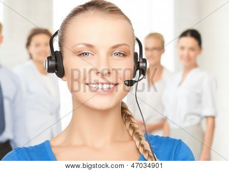 bright picture of friendly female helpline operator