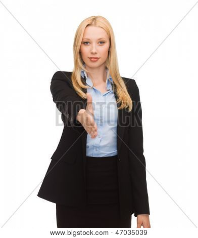 friendly woman with an open hand ready for handshake