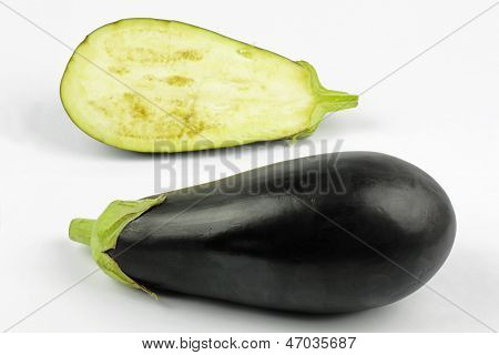 Eggplant on the white background