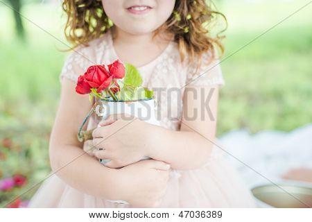 Girl Giving Flower