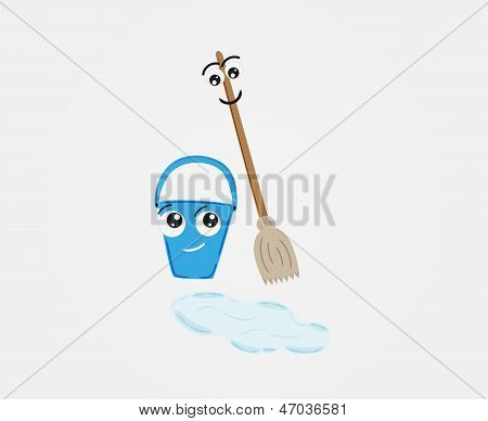 Broom And Pail With Water On The Floor