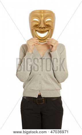 A woman holding a gold mask theater comedy