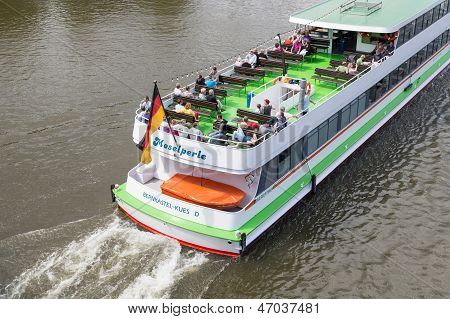 Bernkastel-kues, Germany  - July 21: A Tourist Vessel With Unknown Toerists Is Making A Cruise Over
