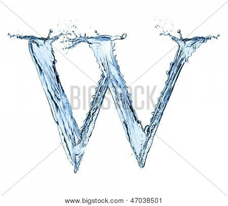 "Water letter ""W"" isolated on white background"