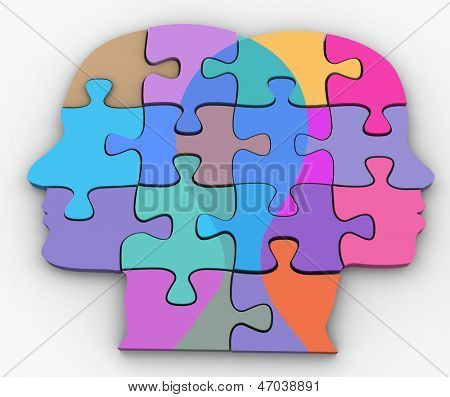 Male female couple faces symbol of  relationship puzzle problem clipping-path extract shadow