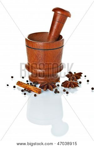 Wooden Mortar And Pestle With Spices Ready For Grinding