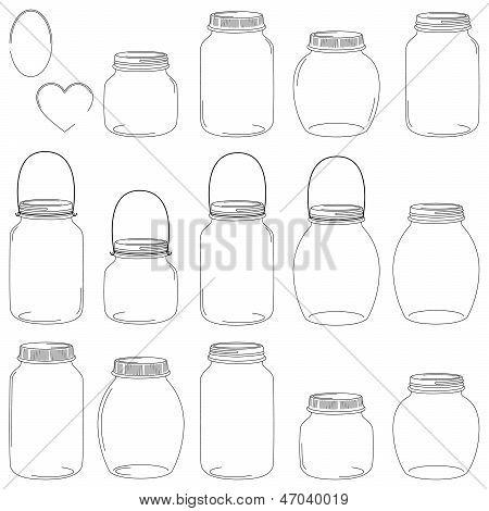 Large Set of Hand Drawn Mason Jar Vectors