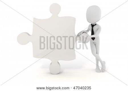 3d man businessman and puzzle piece