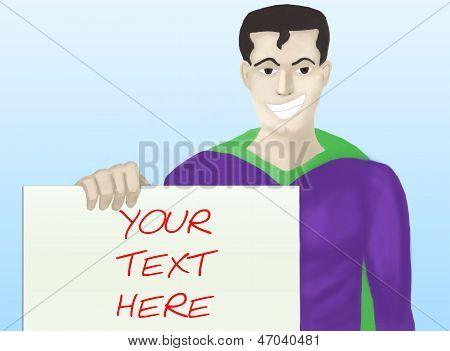 Superhero with message