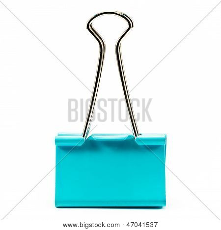 Green Paper Clip On White Background