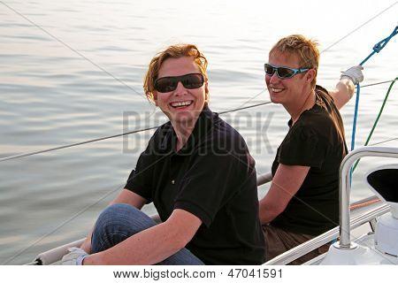 Happy sailing on the IJsselmeer in the Netherlands