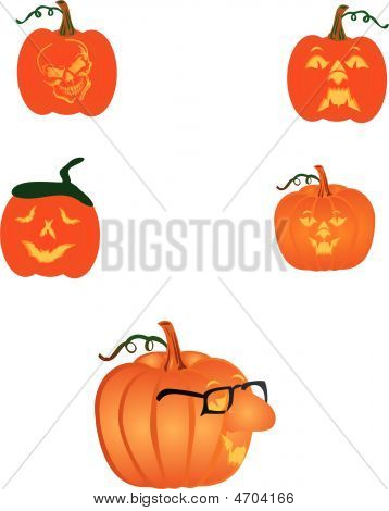 Carved Pumpkins Ready For Halloween