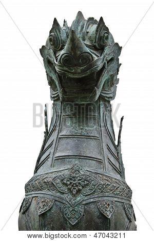 Lion straight face sculpture