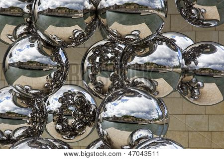 Stainless Steel Balls Cityscape Reflection