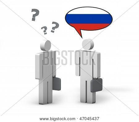 Concepto de lengua rusa del negocio