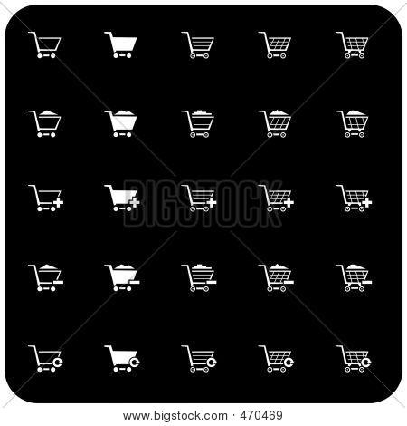 Ícone do carrinho de compras definir 2 (p/b)