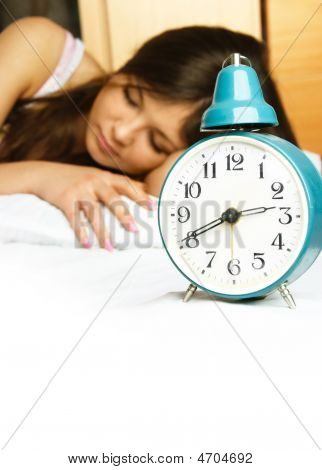 Sleeping Girl With The Alarm Clock