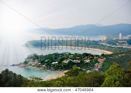 Sunny resort town by the sea
