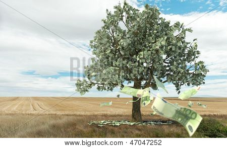 3D rendering of the concept money growing on trees