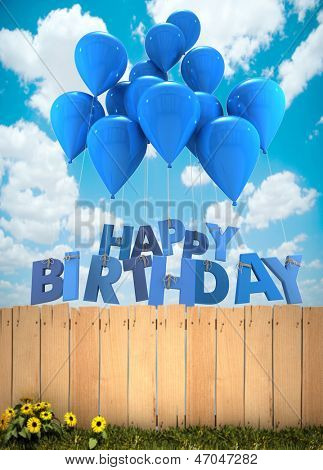 3D rendering of a group of balloons with the words happy birthday hanging from the strings in blue shades over a garden fence