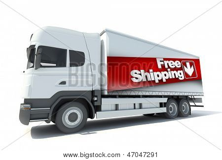 Trailer truck with a sign advertising free shipping