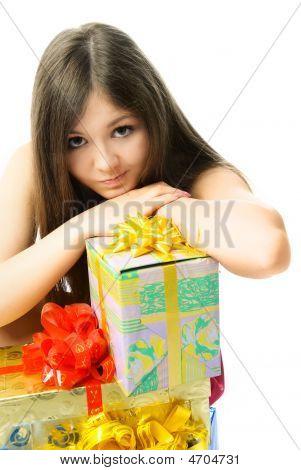 Upset Girl With Presents