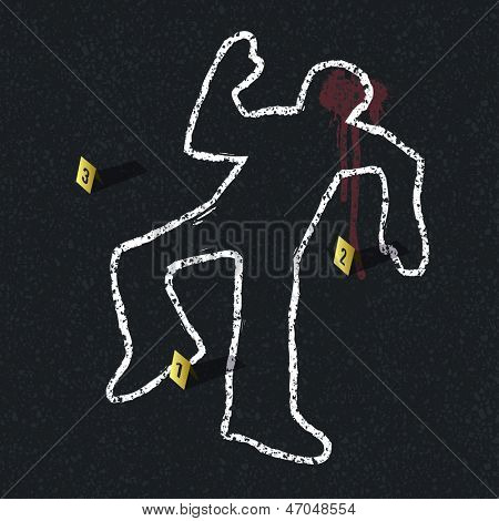 Crime scene illustration. Raster version, vector file available in portfolio.