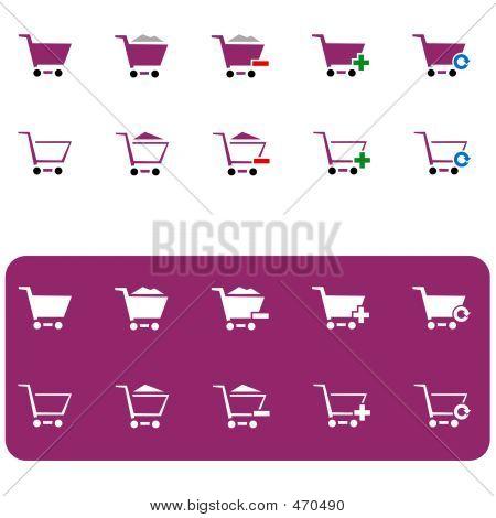 Shopping Cart Icon Set 3 (vinous)