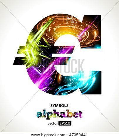 Vector Customizable Light Effect Alphabet. Design Abstract Symbol �¢�?�¬. Euro.