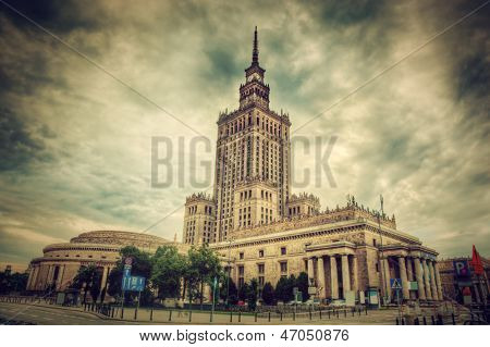The Palace of Culture and Science, one of the symbols of Warsaw, Poland. Retro, vintage style. Palac Kultury i Nauki