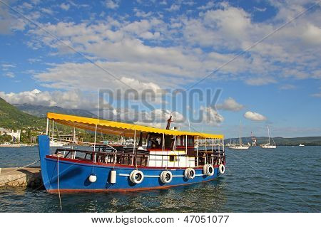 Colorful Water Bus In Harbor Of Tivat