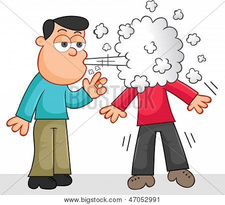 Smoking A Cigarette And Blowing Smoke In Another Person's Face.