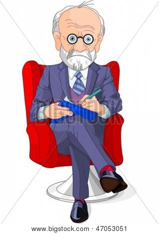 Psychiatrist at a session of psychoanalysis