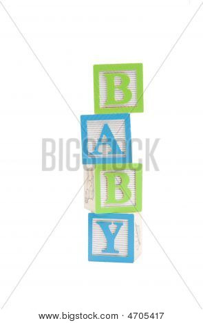 Baby Written In Childs Blocks With Clipping Path
